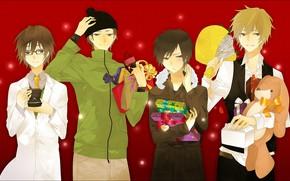 Picture new year, Christmas, gifts, guys, Durarara, Durarara, Shizuo Heiwajima, Of Izaya Orihara, Shinra, Kadota