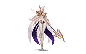 Picture Girl, Fantasy, Art, Style, Background, Illustration, Elf, Minimalism, Character, Staff, Junq Jeon, White magician elf