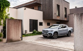 Picture Mercedes-Benz, pickup, 2018, near the house, X-Class, gray-silver