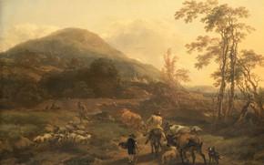 Picture landscape, oil, picture, canvas, Nicolas Pietersz Berchem, 1656, Nicolaes Pietersz Berchem, Three flocks