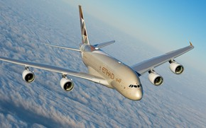 Picture Clouds, A380, Airbus, Etihad Airways, Airbus A380, A passenger plane, Airbus A380-800