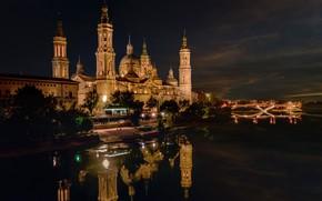 Picture trees, night, bridge, lights, river, home, lights, Spain, Palace, Zaragoza