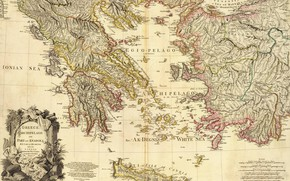 Picture Greece, Greece, old maps, 1791, Map Of Greece, Archipelago and part of Anadoli, Louis Stanislas …
