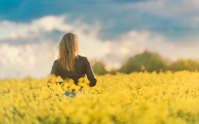 Picture field, girl, nature, hair, spring, jacket, flowering