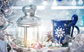 Picture background, toys, lamp, new year, Winter, Snow, Light, Christmas