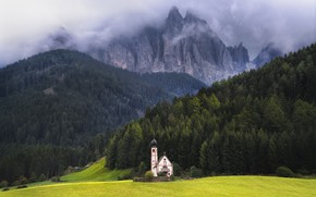 Picture forest, mountains, Alps, Italy, Church, meadows