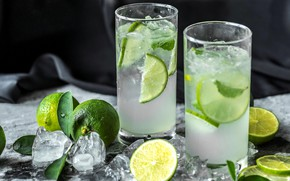 Wallpaper ice, glasses, lime, drink, Mojito