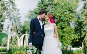 Picture girl, nature, bouquet, pair, guy, lovers, the bride, wedding, the groom