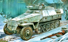 Picture Winter, Snow, The Wehrmacht, APC, Sd.Car.251, WWII, Soldiers, Sd.Car.251/9 Ausf.D Butts