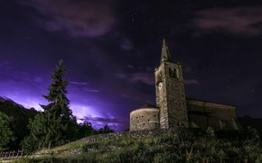 Picture night, temple, The church of S. Maurizio, Saint Vincent