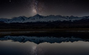 Picture winter, stars, snow, mountains, night, lake, darkness, reflection, the dark background, shore, the slopes, tops, …