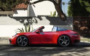 Picture asphalt, red, street, the fence, 911, Porsche, side view, Targa, 2020, 992, 911 Targa, The …