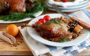 Picture meat, leg, tomato, duck, buckwheat