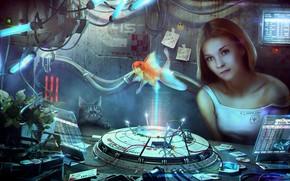 Picture cat, fish, Holographic life, Vladimir Manyukhin, Holographic life