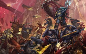 Picture Space Wolves, chaos, space marines, demons, Warhammer 40 000, Khorne Berserker