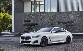 Picture white, coupe, BMW, Gran Coupe, the house, 840i, 8-Series, 2019, the four-door coupe, Eight, G16
