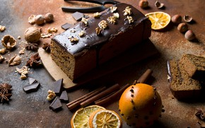 Picture chocolate, nuts, cinnamon, dessert, cakes, cupcake, spices, Anis, orange wedges