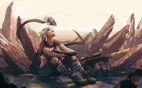 Picture Girl, sake, fantasy, soldier, desert, digital art, artwork, fantasy art, sitting, sniper rifle, fantasy girl