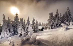 Picture winter, snow, trees, landscape, nature, house, ate, slope, Robert Didierjean