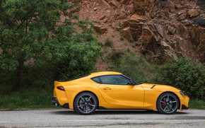 Picture yellow, coupe, Toyota, Supra, the fifth generation, in profile, mk5, double, 2019, GR Above, A90, …