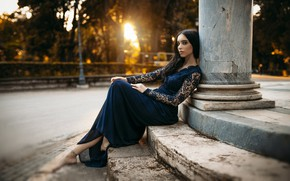 Picture look, girl, the sun, pose, Park, dress, steps, beautiful, bokeh, Furnari Nicola Davide