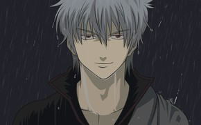 Picture rain, guy, Gintama, Gintama, You Want Гинтоки