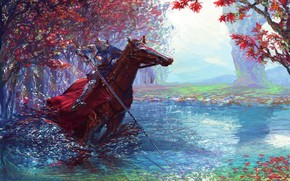 Wallpaper colorful, fantasy, forest, river, armor, trees, weapon, horse, digital art, artwork, warrior, fantasy art, Knight, ...