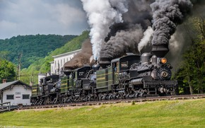 Picture Trees, Smoke, The engine, Rails, Couples, The engine system Neck