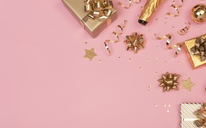 Picture background, gold, pink, new year, gifts, Confetti