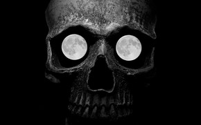 Picture death, the moon, skull, satellite