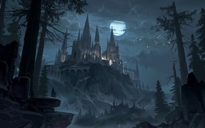Picture forest, the sky, trees, night, castle, the moon, fantasy, art