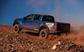 Picture the sky, blue, Ford, Raptor, pickup, 2018, the ground, Ranger