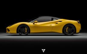 Picture Auto, Yellow, Machine, Ferrari, Supercar, Sports car, Side view, 488, Ferrari 488, Transport & Vehicles, …
