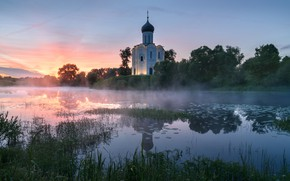 Picture summer, grass, trees, landscape, sunset, nature, reflection, river, Church, temple, Nerl