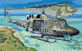 Picture Helicopter, USA, Huey, USMC, Combat helicopter, UH-1N