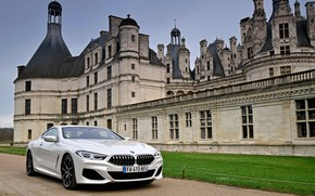 Picture white, wall, lawn, coupe, BMW, 2018, 8-Series, Eight, G15, 840d xDrive M Sport