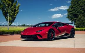 Picture Lamborghini, Sky, Blue, RED, VAG, Performante, Huracan