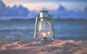 Picture sand, nature, fire, lamp, the evening, lantern