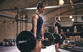 Picture girl, men, workout, fitness