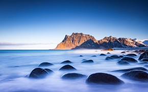 Picture sea, the sky, mountains, blue, stones, rocks, boulders