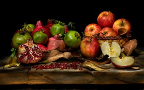 Picture leaves, apples, Board, food, fruit, black background, still life, items, halves, grenades, grain, composition, cuts, …