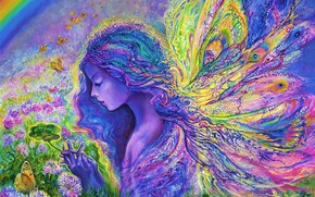 Picture bright colors, butterfly, flowers, surrealism, wings, picture, spring, clover, painting, Josephine Wall, canvas, images, fantasy …