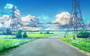 Picture road, summer, childhood, wire, power lines, carelessness, transmission lines high voltage