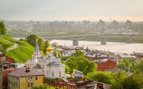 Picture bridge, nature, the city, river, view, Church, Russia, Nizhny Novgorod