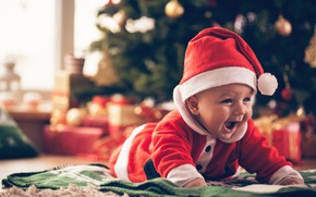 Picture new year, boy, baby, Santa Claus