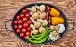 Picture mushrooms, pepper, vegetables, garlic