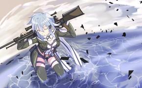 Picture girl, weapons, Sword art online, Sword Art Online, Sinon