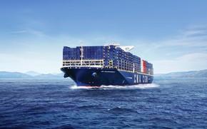 Picture The ocean, Sea, The ship, A container ship, Tank, CMA CGM, Vessel, Container Ship, CMA …