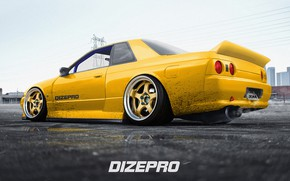 Picture Auto, Yellow, Machine, Nissan, R32, Skyline, Rendering, JDM, Nissan Skyline GT-R, Dmitry Strukov, Dizepro, by …