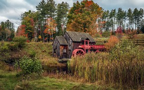 Wallpaper nature, mill, house, water mill